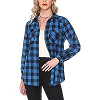 Hotouch Geruit overhemd dames flanel plaid shirts lange mouwen button down casual blouseshirt basic boyfriend overhemd…