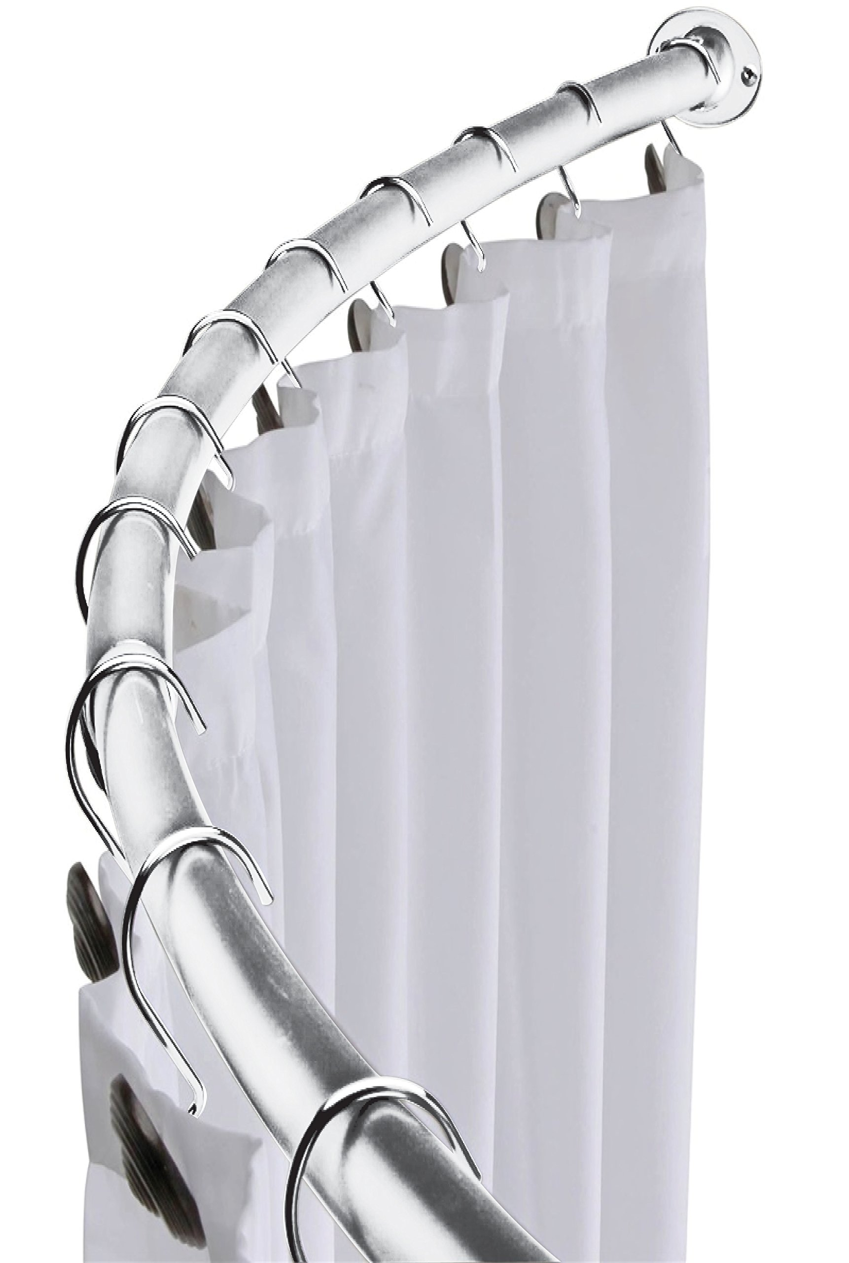 MINEL Curved Shower Curtain Rod, Expandable from 41'' to 72''/ Added Space, Brushed Chrome Finish