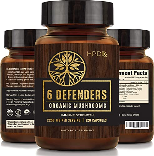 6 Defenders Organic Mushroom Extract Blend – 2250 mg Max Immunity Dose, Lion s Mane, Chaga, Reishi, Shiitake Maitake Turkey Tail Mushroom Supplements 30-Day Supply of Mushroom Supplement Capsules