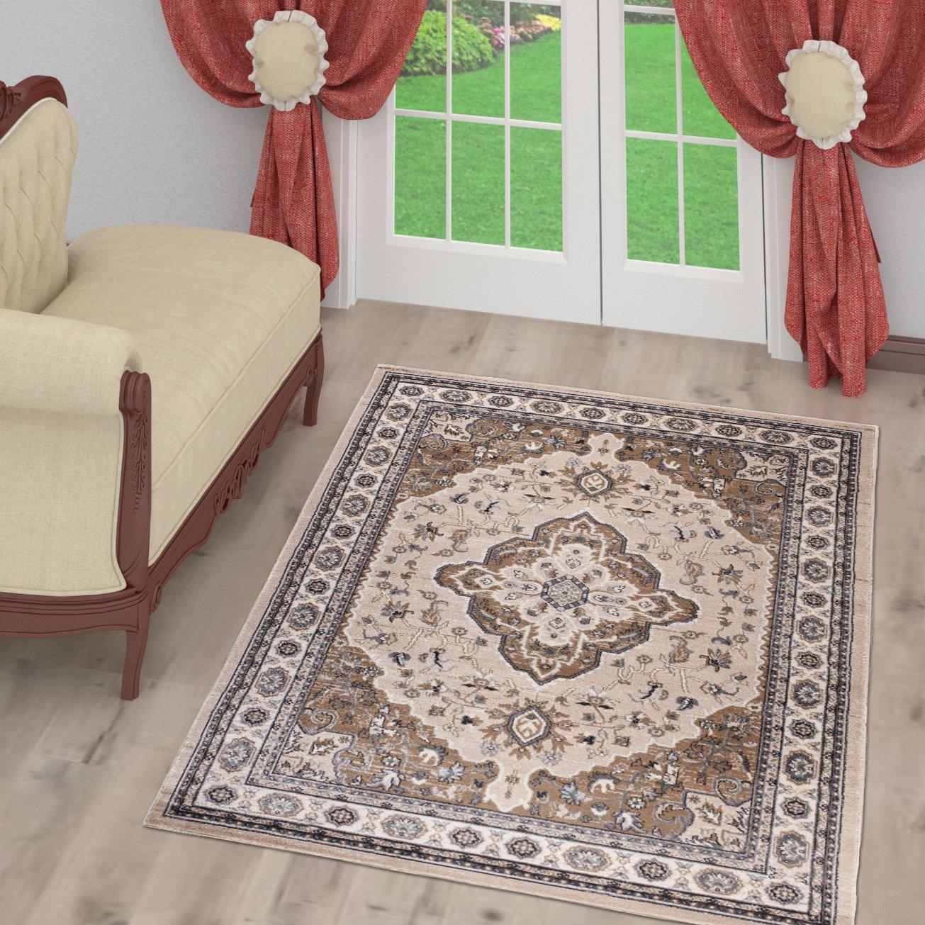 Tapiso Farbeado Teppich Wohnzimmer Kurzflor Klassisch Orientalisch