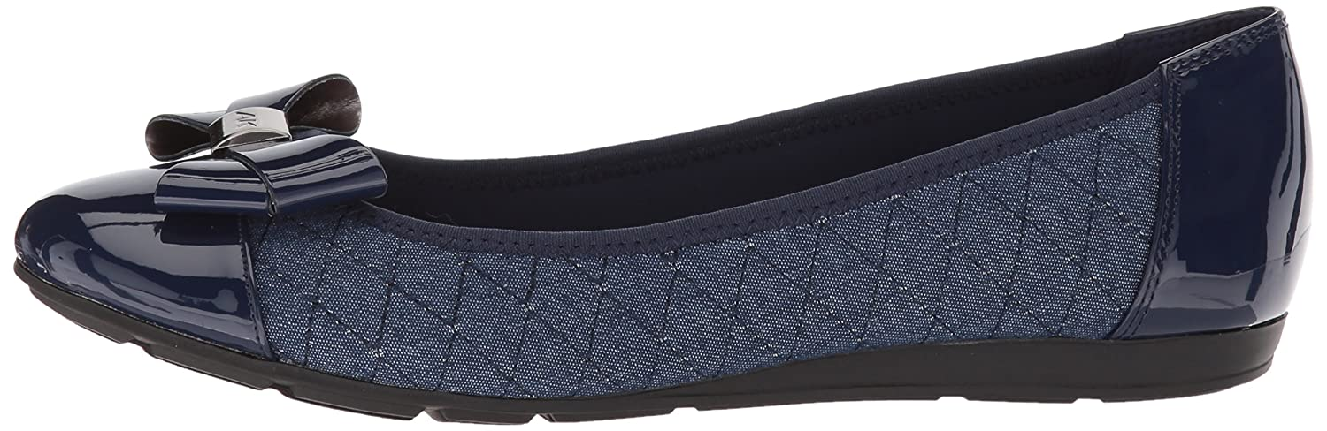 Anne Klein Women's Alphia Fabric Ballet Flat B078216GTR 7 W US|Blue/Multi Fabric