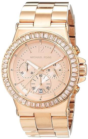 Michael Kors - Reloj analógico de cuarzo para mujer con correa de acero inoxidable, color rosa: Amazon.es: Relojes