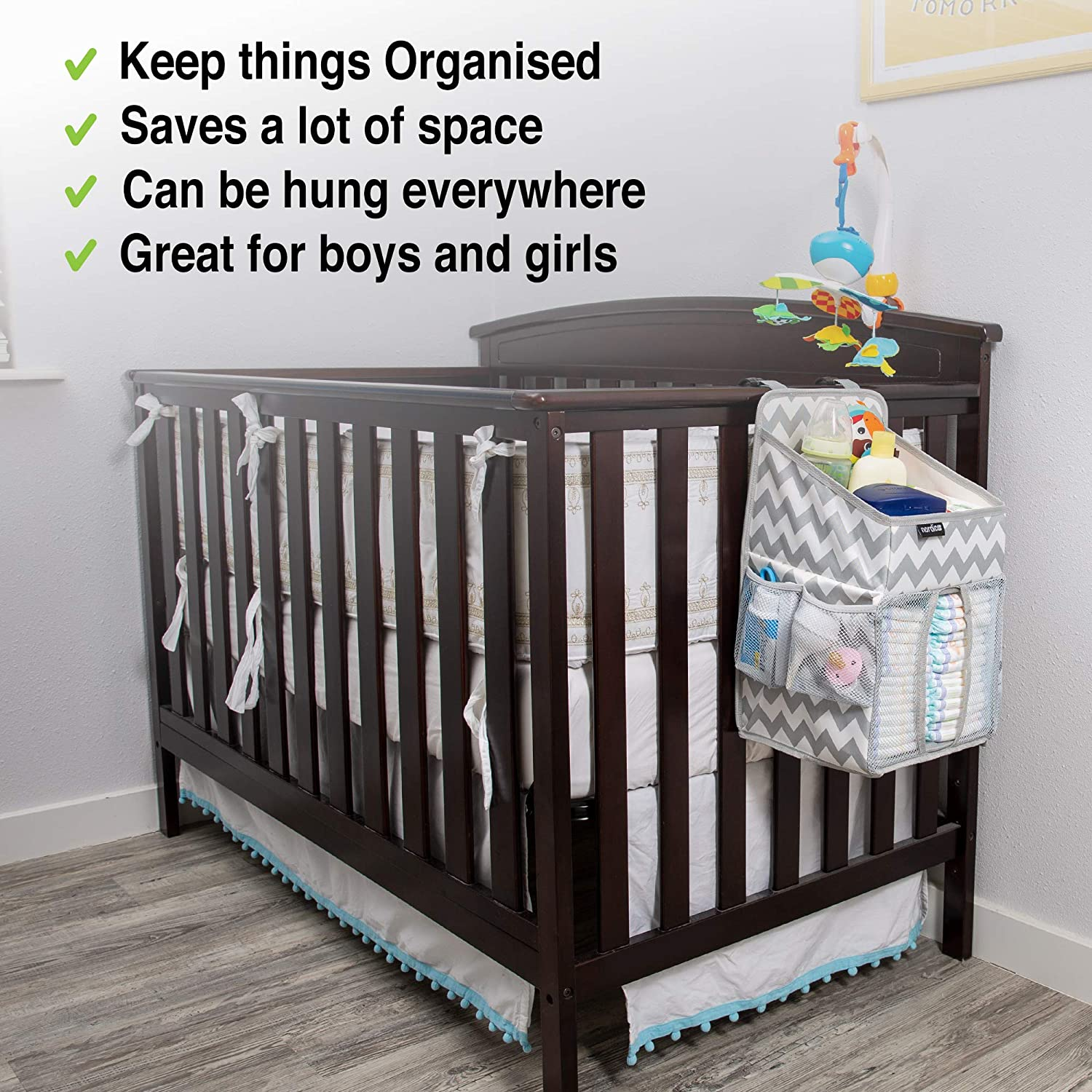 20x9x9 Resistant Easy-to-Hang Changing Table Organizer Diaper Stacker for Newborn Baby Diapers Crib Hanging Storage with 3 Side Pockets Daily Nordic Diaper Caddy Nursery Organizer Wet Wipes Toys