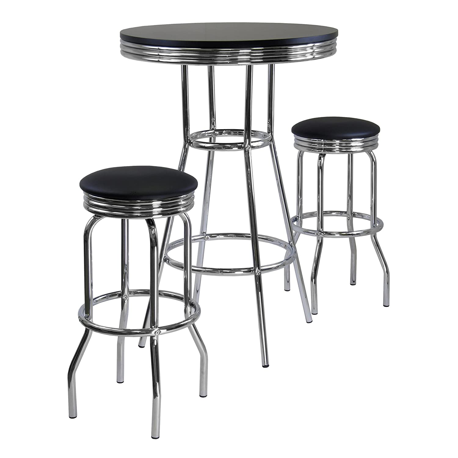 High Quality Amazon.com: Winsome Summit Pub Table And 2 Swivel Stool Set, 3 Piece:  Kitchen U0026 Dining