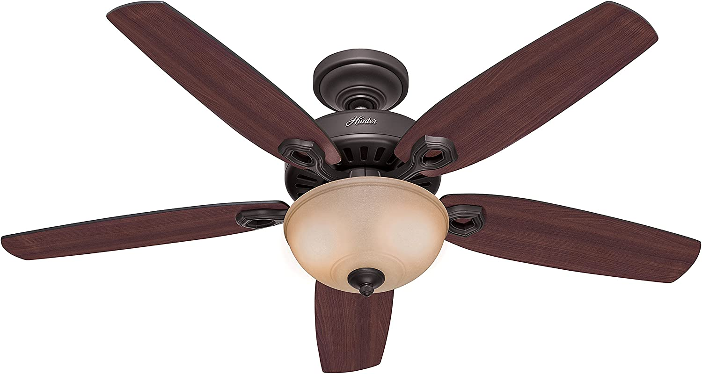 Hunter Fan 50572 Builder Deluxe - Ventilador de techo con luz en bronce nuevo