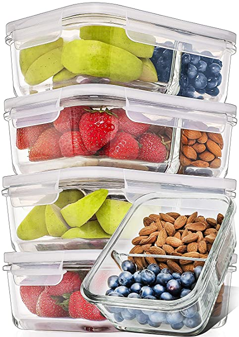 Prep Naturals Glass Meal Prep Containers Glass 2 Compartment 5 Pack - Glass  Food Storage Containers - Glass Storage Containers with Lids - Divided ...