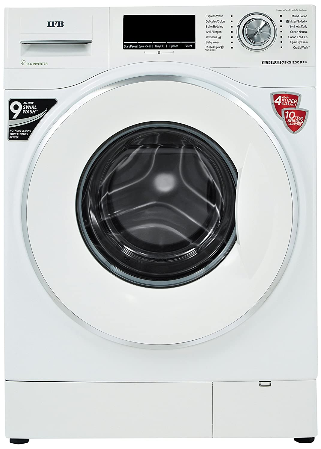 IFB 7.5 kg Fully-Automatic Front Loading Washing Machine (Elite Plus Vx ID, White)