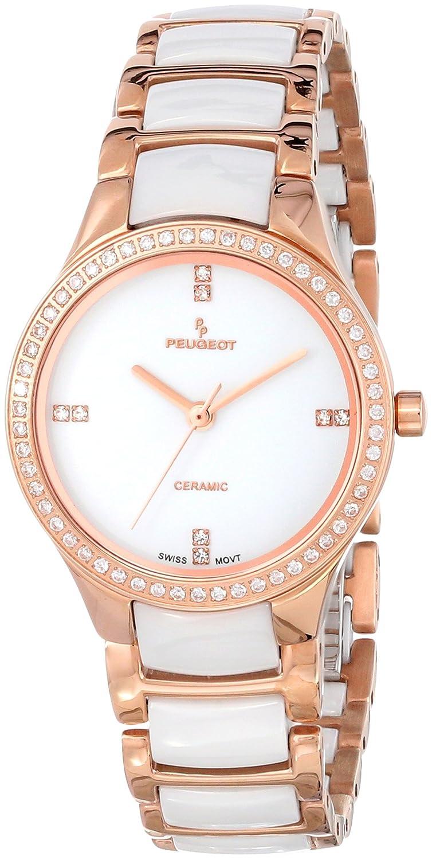 c8f11ceaf Amazon.com: Peugeot Women's PS4904WR Swiss Ceramic Rose Gold Crystal Bezel  Link Watch: Peugeot: Watches