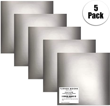 Adhesivo metálico de vinilo plateado, 5 paquetes de láminas de vinilo para manualidades de 30 x