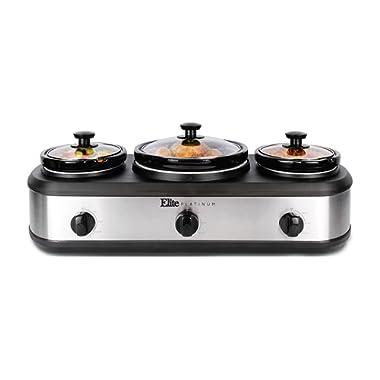Elite Platinum EWMST-415 Triple Slow Cooker Buffet Server, Adjustable Temp Dishwasher Ceramic Pots, 1 x 4Qt & 2 x 1.5Qt Capacity, Stainless Steel