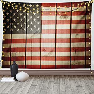 Ambesonne American Flag Tapestry, USA Flag Over Vertical Striped Wooden Board Citizen Solidarity Artwork, Wide Wall Hanging for Bedroom Living Room Dorm, 60