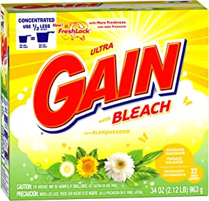 Gain with Freshlock with Bleach Powder Detergent, Outdoor Sunshine Scent, 22 Loads, 34 Ounce