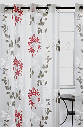 Editors' Choice: LJ Home Fashions 57 Dreamscape Sheer Leaf Burnout Grommet Curtain Panels Set of 2 52″ W x 95″ L