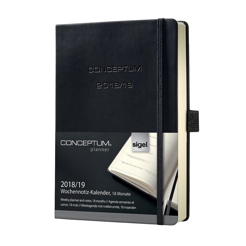 Sigel C1902 Agenda semanal 2018/2019, CONCEPTUM, 18 meses, tapa dura, 10,8 x 15,1 cm, negro