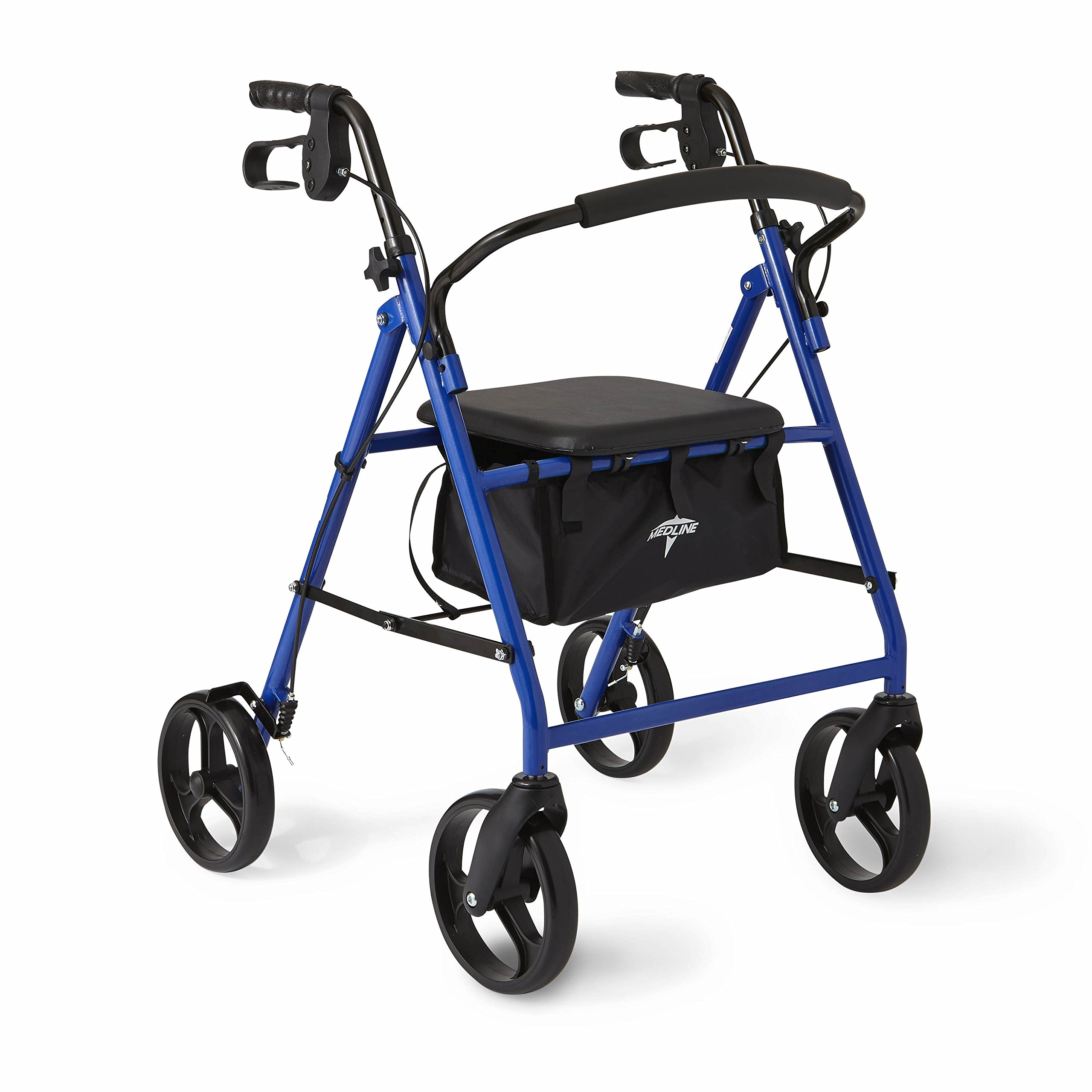 Medline Standard Steel Folding Rollator Adult Walker with 8'' Wheels, Blue by Medline