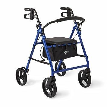 Amazon.com: Medline Basic - Andador de acero con ruedas de 8 ...