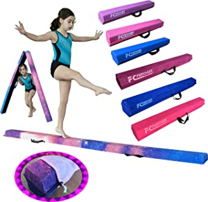 FC FUNCHEER 6FT/9FT Folding Floor Gymnastics Beam for Kids,Non Slip Rubber Base, Waterproof Leather Covering Gymnastics Beam for Training,Professional Home Training with Carrying Bag