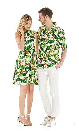 1a0f9cf0 Couple Matching Hawaiian Luau Cruise Outfit Shirt Vintage Dress Bird of  Paradise White Men 2XL Women