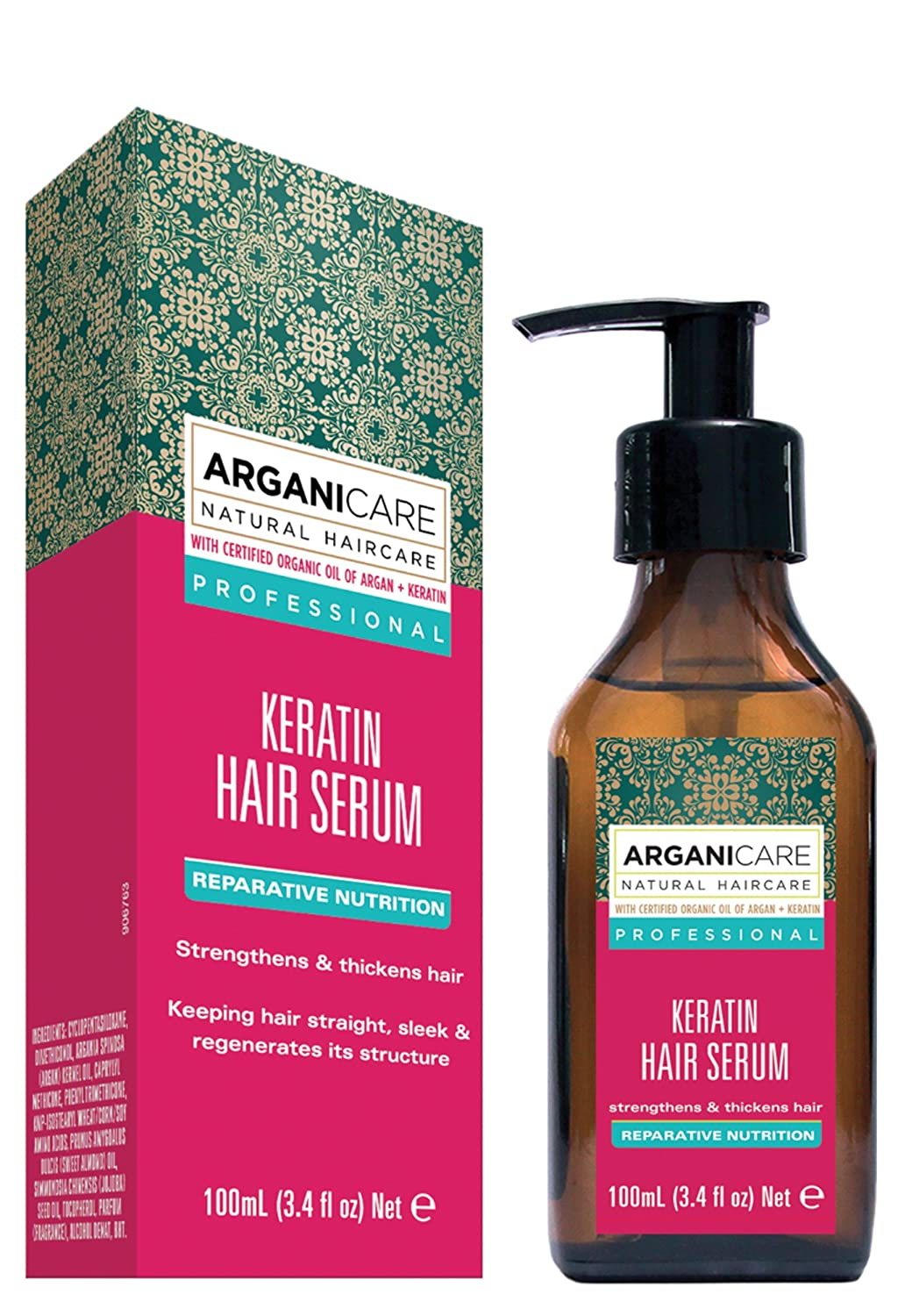 Arganicare Keratin Repairing Hair Serum with Certified Organic Oil of Argan to strengthen and thicken. 100ml AGN023 1160_-100ml