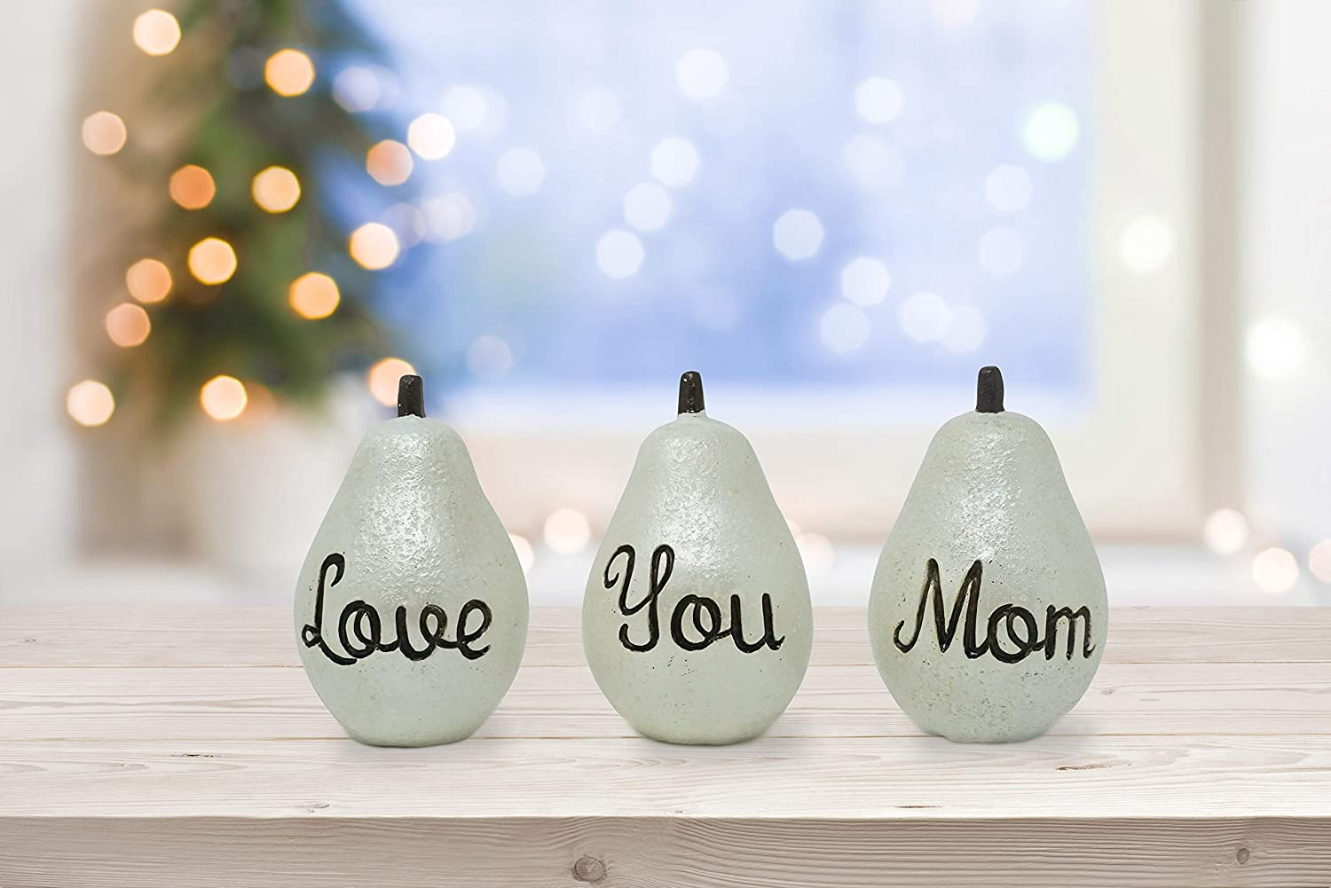 FOLE Love You Mom Pears - Gifts for Mom - Birthday Anniversary Mother Wife Her Sister Daughter Decor Presents - Mothers Day Birthday Anniversary Hallmark Keepsake, Vintage Pearl , 4x2.5 Inches