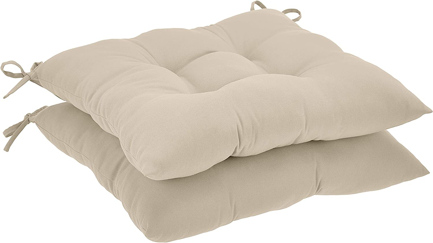 AmazonBasics Tufted Outdoor Square Seat Patio Cushion - Pack of 2, Khaki