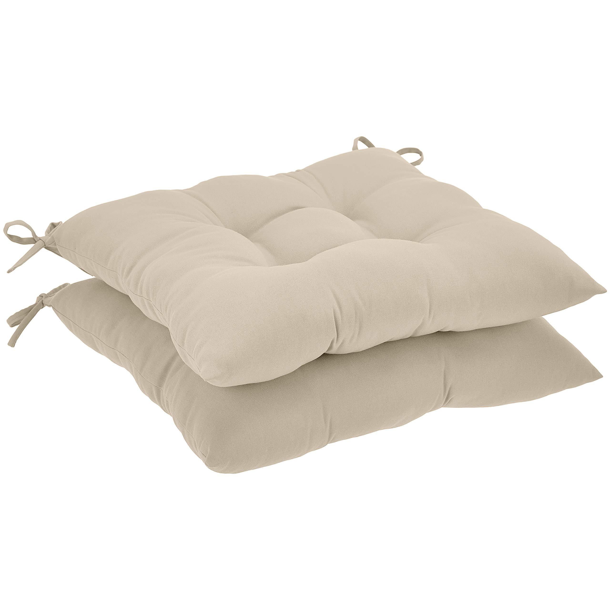 AmazonBasics Tufted Outdoor Square Seat Patio Cushion - Pack of 2, Khaki by AmazonBasics