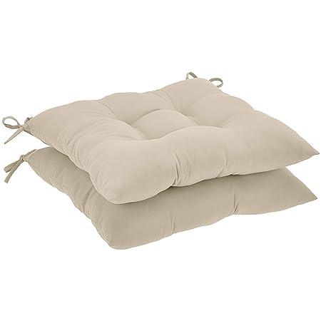 AmazonBasics Tufted Outdoor Square Seat Patio Cushion - Pack of 2, Khaki