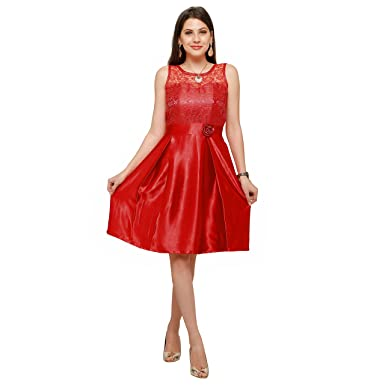 8d634ba9e85 Silk Fully Stitched knee western wear dress for girls and women  Amazon.in   Clothing   Accessories