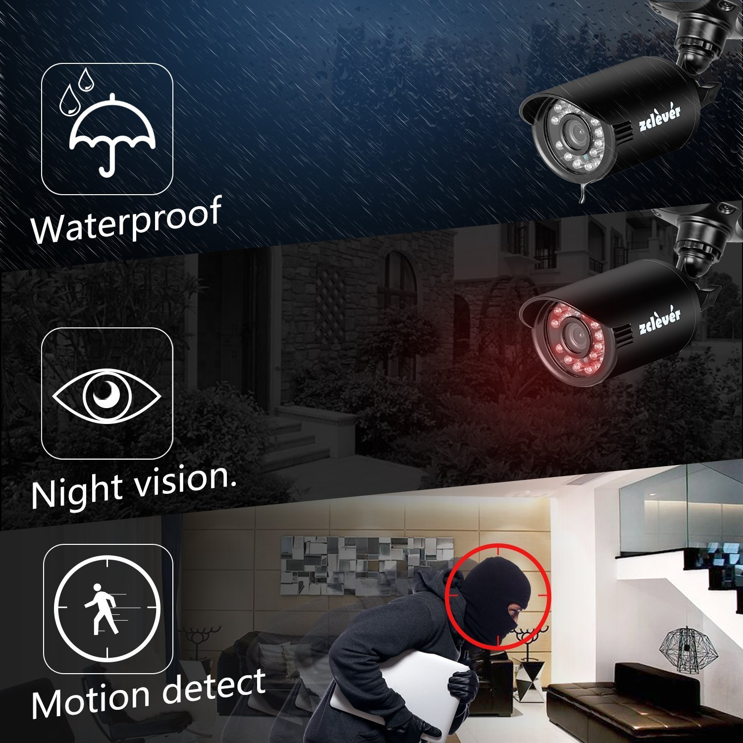 Zclever 8CH Home Security Camera System 1080N Video Surveillance DVR with 8pcs 720p 1200TVL Night Vision Weatherproof Cameras Motion Detection Easy Remote View No Hard Drive D2108N-8XC105L3
