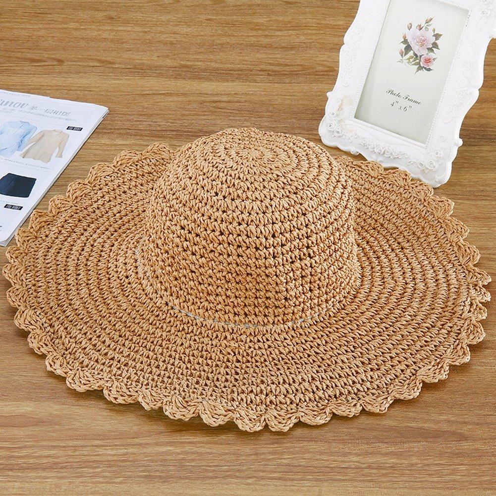 TYERY Hecho a Mano Rafi Rafi Rafi Hierba Broodu Al Aire Libre Protector Solar Sol Sombrero Sombrero de Playa Playa Sombrero, Caqui, Cuerda de Ajuste de tamaño incorporada 7adb89