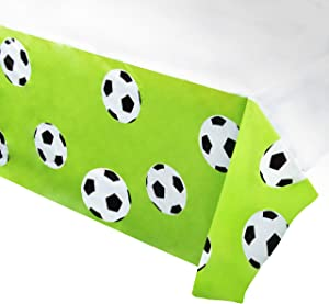 Juvale Soccer Plastic Tablecloth - 6-Pack 54 x 108-Inch Soccer Ball Disposable Table Cover, Fits up to 8-Foot Long Tables, Game Day Party Decoration Supplies, 4.5 x 9 Feet