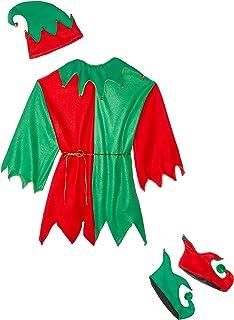 ec93edc1e5dff Amazon.com: Fun World Costumes Men's Adult Elf Tights, Red/Green ...