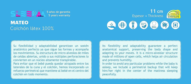 Colchón de cuna LÁTEX 100% 140x70cm antiácaros hipoalergenico transpirable adaptable al cuerpo del bebe buena firmeza: Amazon.es: Bebé