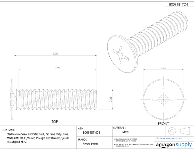 Steel Machine Screw 1-1//4 Length Pan Head Fully Threaded Phillips Drive Internal-Tooth Lock Washer Pack of 50 #8-32 UNC Threads Zinc Plated Finish Meets ASME B18.13