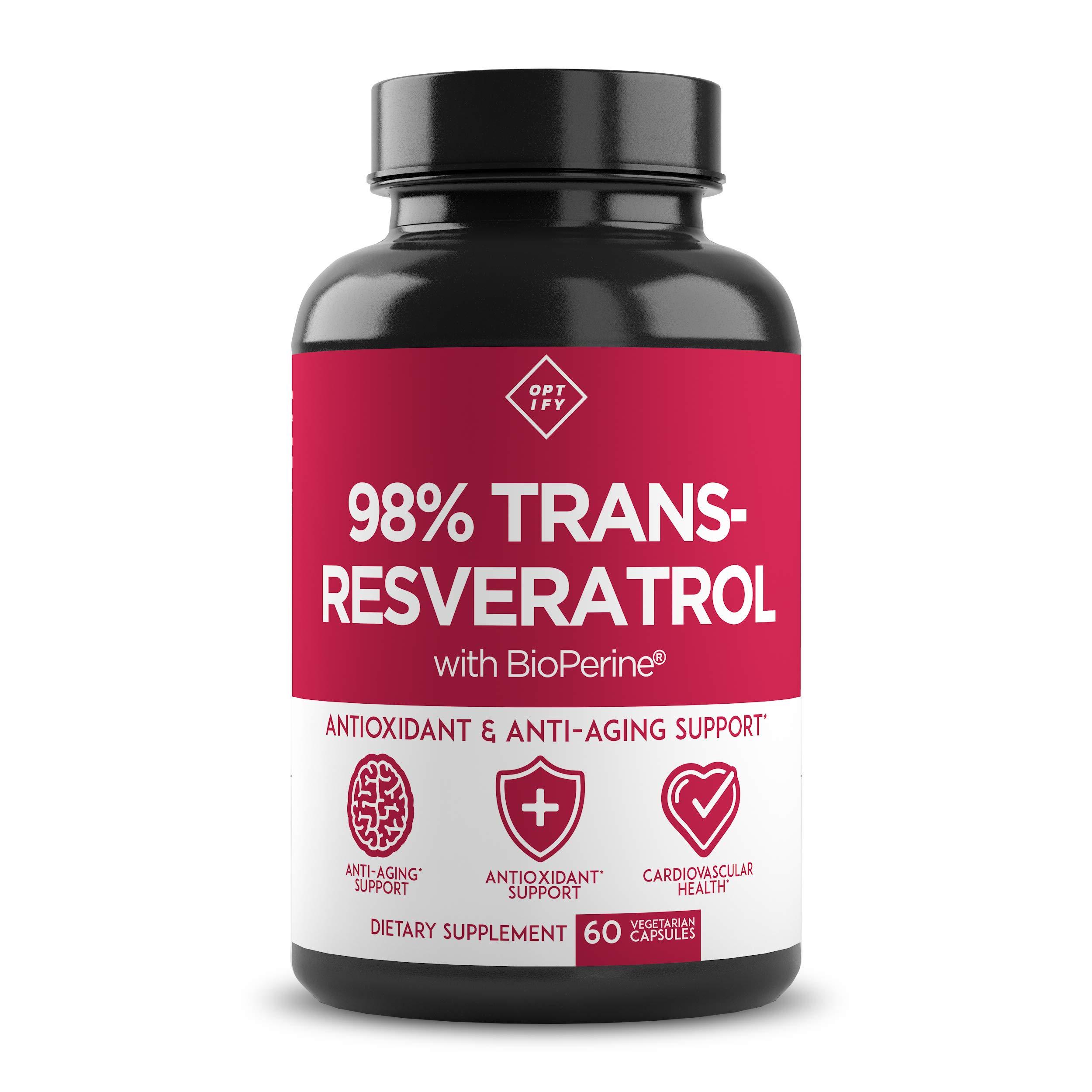 New Ultra Therapeutic Resveratrol Supplement - 98% Trans Resveratrol Plus BioPerine - Antioxidant Supplement for Anti Aging and Longevity - 60 Capsule Reservatrol Supplement
