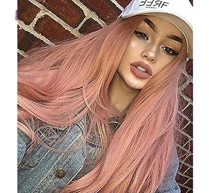 Vébonnie 170629 - Peluca de pelo sintético, color puro, encaje delantero