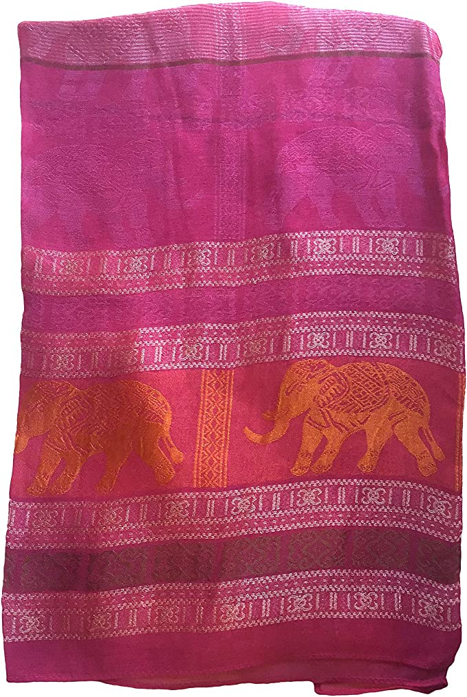 NEW QUALITY LARGE BLACK PINK INDIAN ELEPHANT PASHMINA SHAWL WRAP COVER UP SCARF