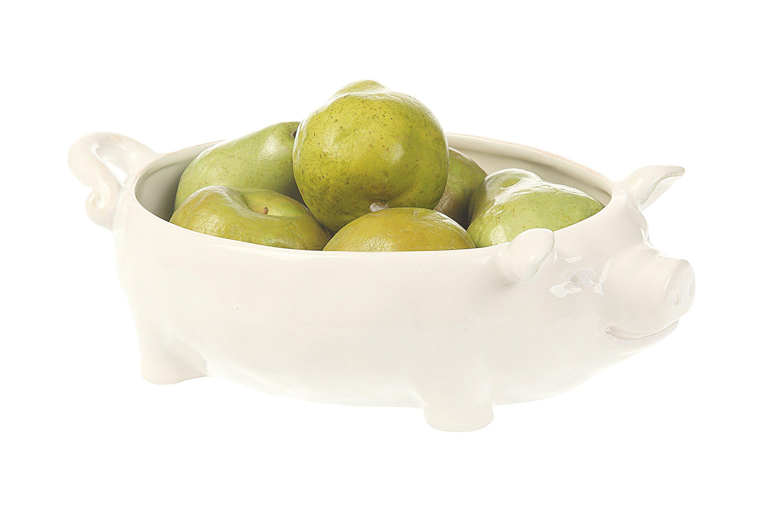 Creative Co-op DA1000 White Ceramic Pig Shaped Bowl