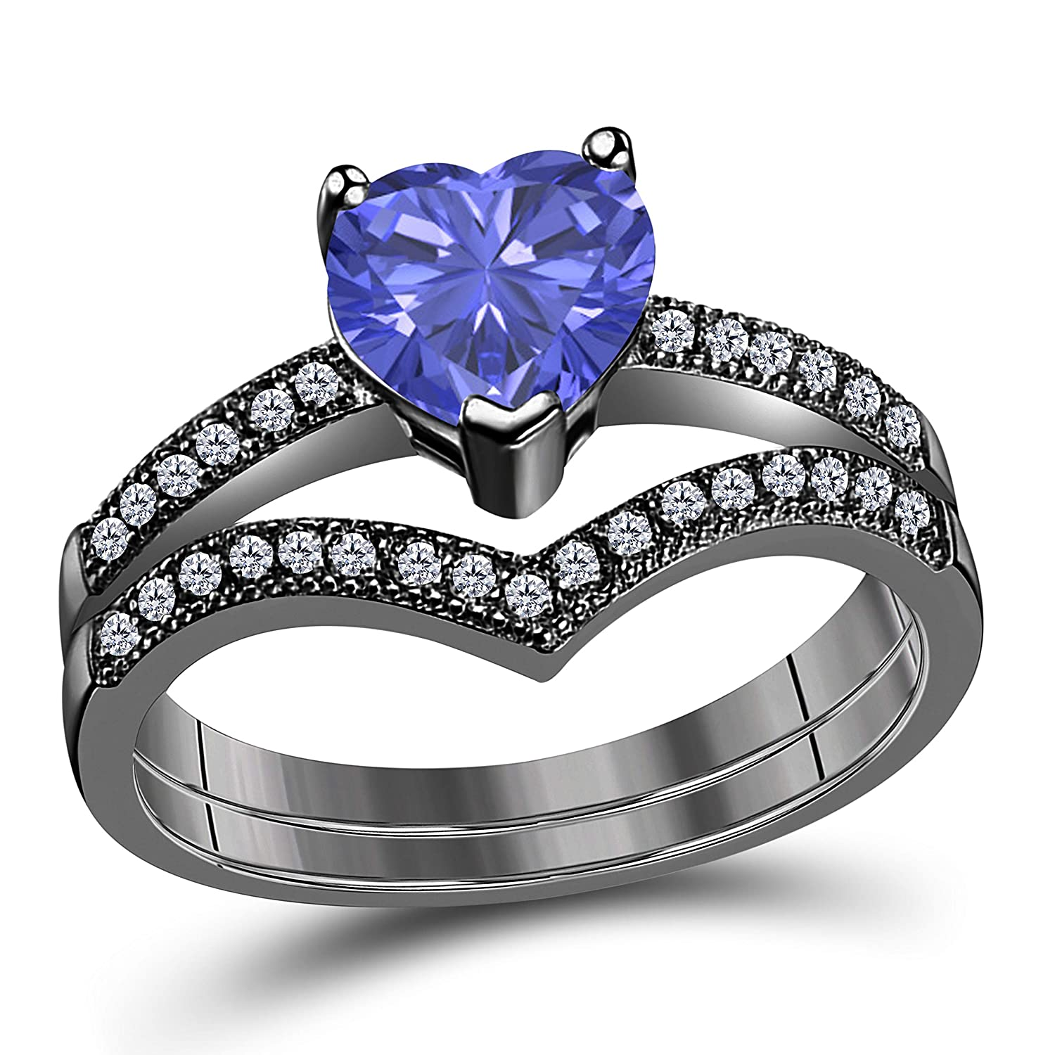 Amazon Ds Jewels 14k Gold Plated Alloy Heart Cut 150 Tcw Cz Tanzanite Cubic Zirconia Curved Wedding Band Engagement Bridal Ring Set Size 4 To 11: Cubic Zirconia Curved Wedding Band At Reisefeber.org