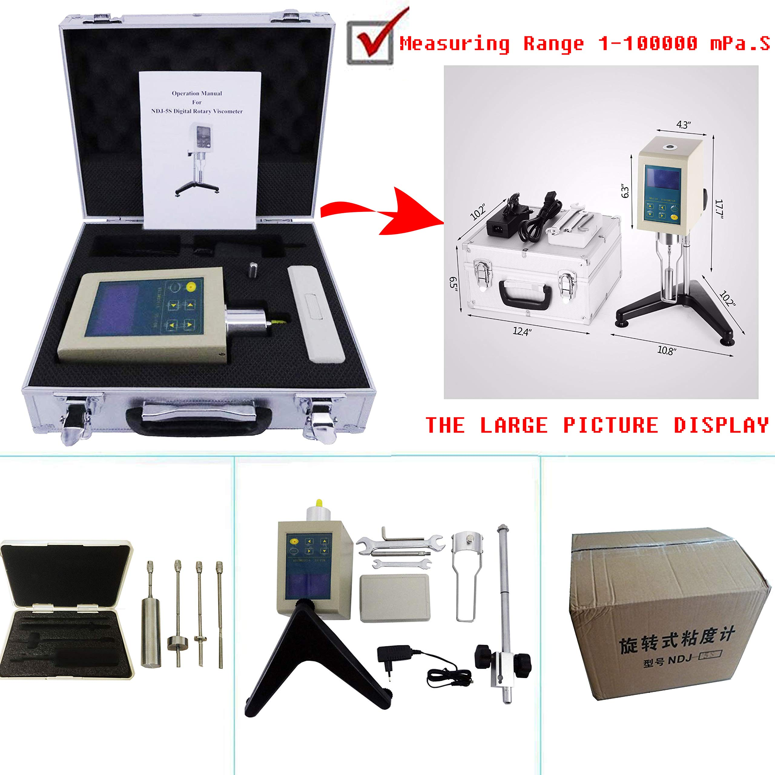 VTSYIQI Lab Viscometer Viscosity Tester Meter NDJ-5S Measuring Range 1-100000 mPa.S with 4 Rotors by VTSYIQI