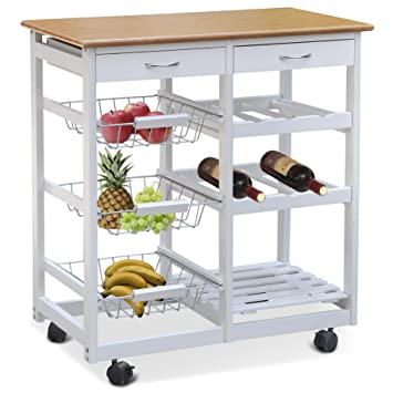 Smallwise Trading White Kitchen Trolley Dining Cart With Wheels Storage Drawers Shelves Metal Baskets Uk