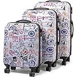 MasterGear ensemble de 3 valises Design mobiles et ultra légères - 4 roulettes (360 °) -  tailles S, M & L - Multicouleur