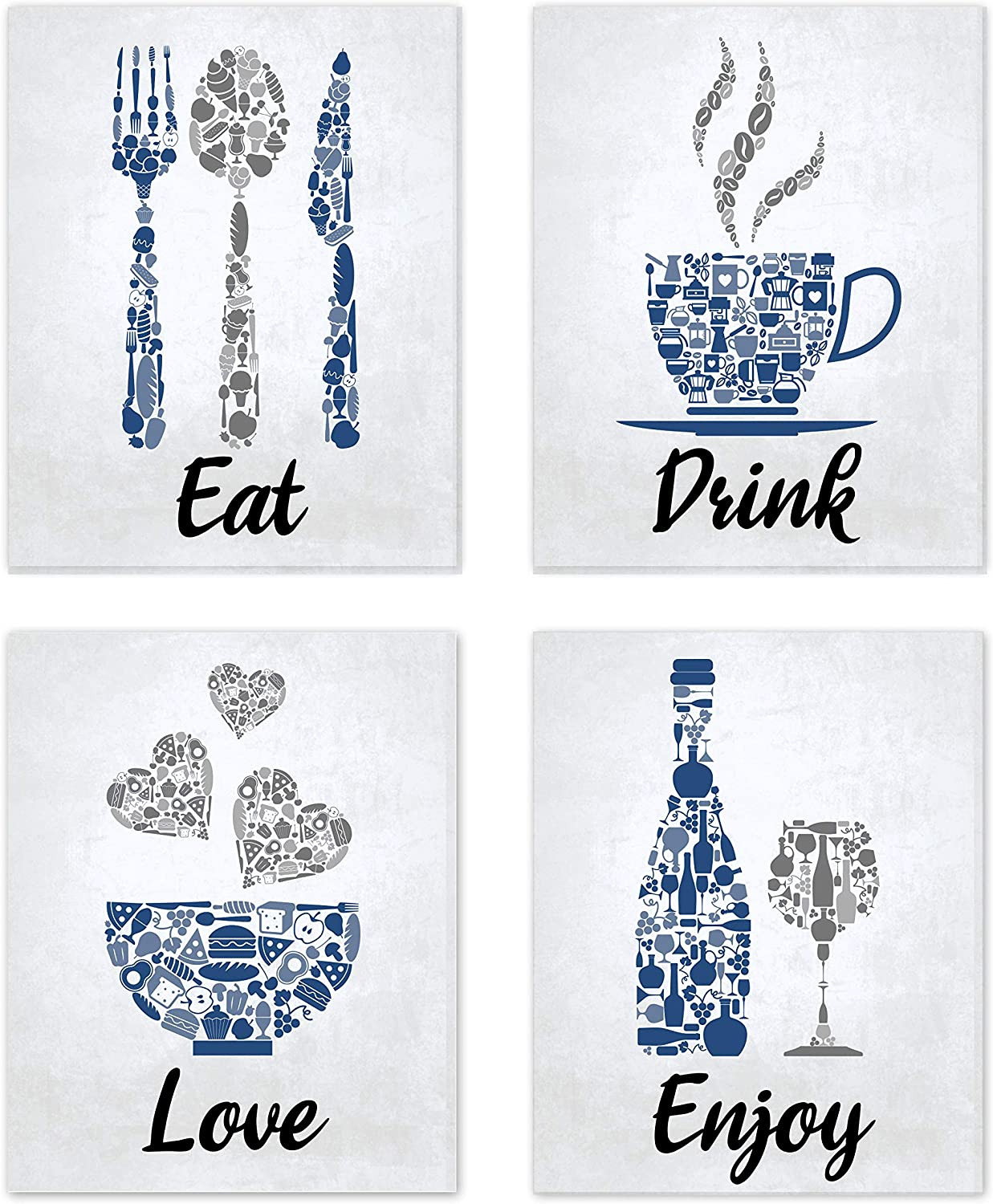 Blue Navy Cobalt Grey White Mosaic Vintage Inspirational Kitchen Restaurant Cafe Bar Wall Art Decorations Eat Drink Love Wine Coffee Hearts Prints Posters Signs Sets Rustic Farmhouse Country Home Dining Room House Decor Funny Sayings Quotes Unframed