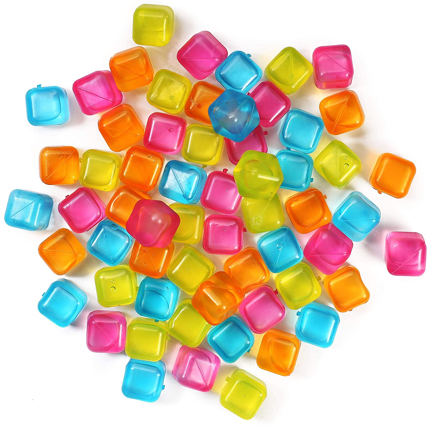 Reusable Ice Cubes Comes In Assorted Colors. Filled with Pure Water to keep your Drink Cold Longer Plastic Squares for Drinks like Whiskey Wine or Beer 60 Pack
