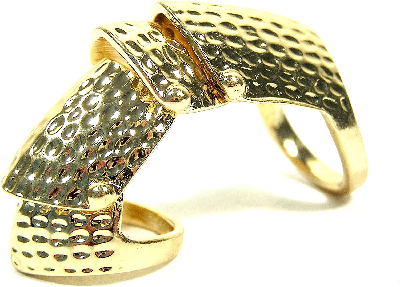 WOMEN STATEMENT LONG METAL TRENDY SHIELD FASHION RING VINTAGE ANTIQUE GOLD NYC