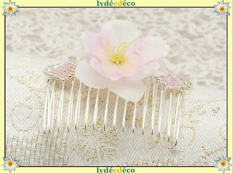 Accesorios peluquería peine de boda tejer perlas Japón blanco rosa plateado Flor sakura seda regalos personalizados ceremonia de boda invitados testigos pareja de la dama de honor
