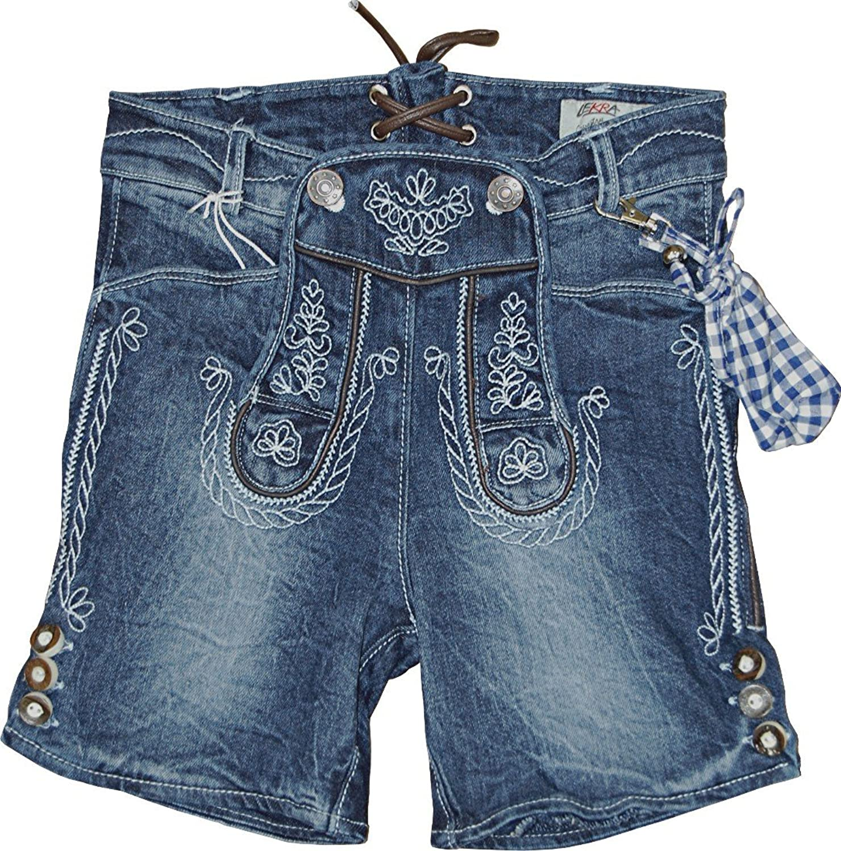 Kinder Trachten Bermuda Jeans Cornelius Lederhose Elastic Denim