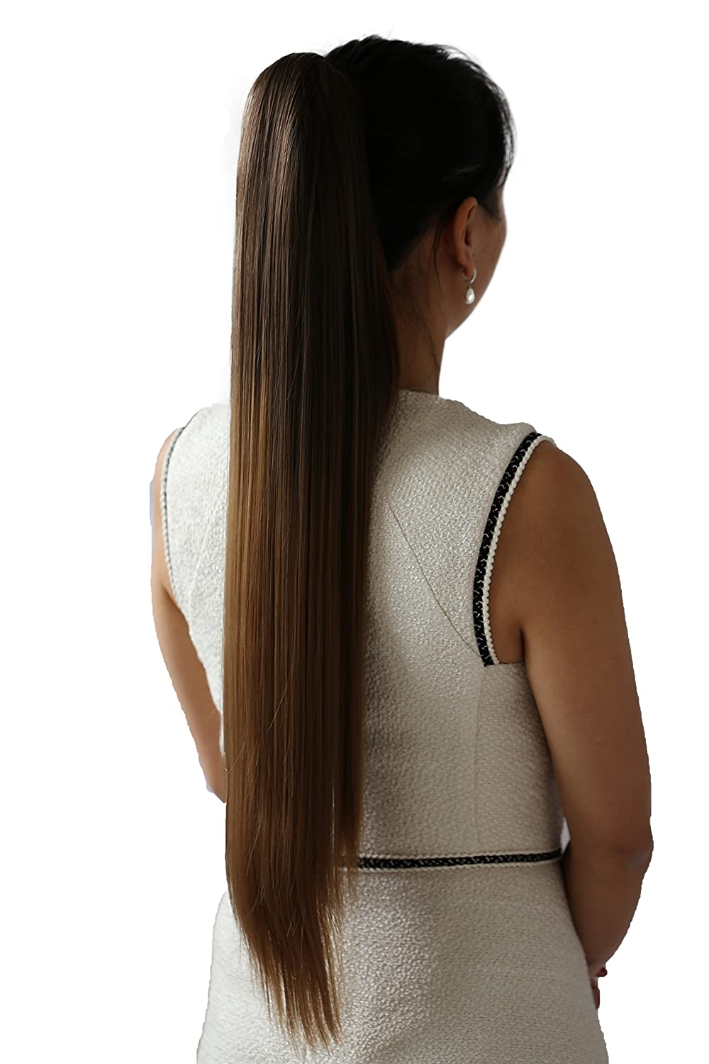 PRETTYSHOP Hairpiece Ponytail Clip on Extension Long hair smooth Heat-Resisting 27 platinum blond # 613 H76 H76_613