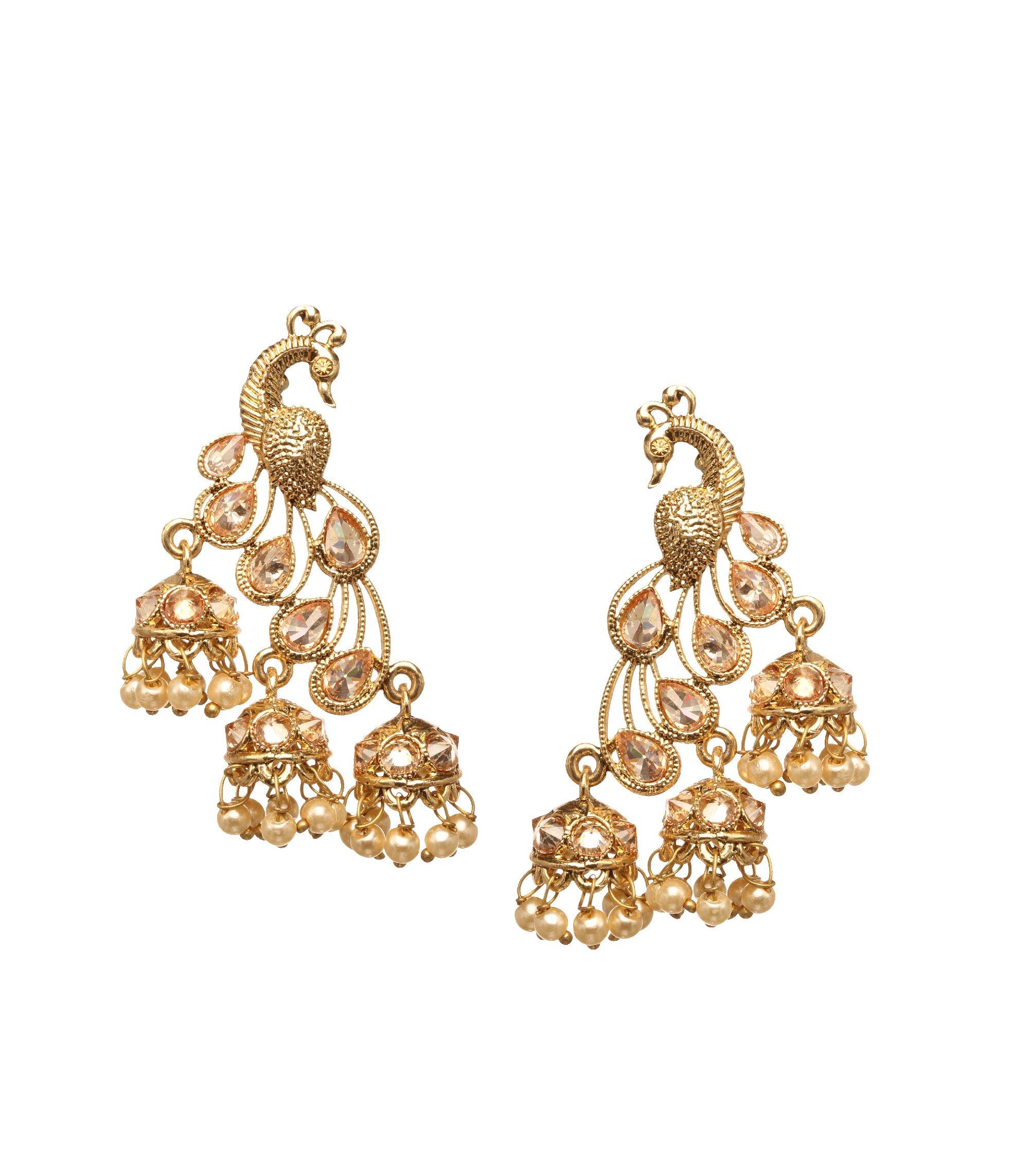 Bindhani Premium Quality Indian Jewelry Wedding Bahubali Style Bollywood Peacock Jhumki Jhumka Earrings For Women