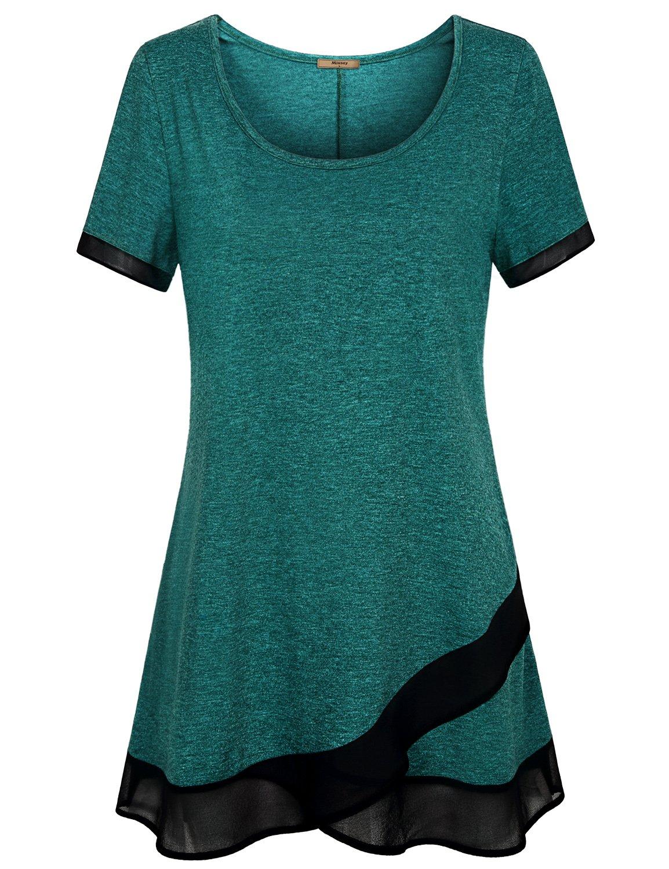 Miusey Leggings Shirts, Scoop Neck Short Sleeve Tunic Top Flare Hem Utility Baselayer Thanksgiving Feminine Pretty Chic No Fading No Shrinking Vintage Fine Asian Length Loose Fit Spandex Green XL